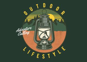 Outdoor Lifestyle lamp t-shirt design