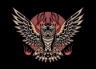 owl oldschool t-shirt design