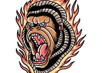 burning gorilla t-shirt design