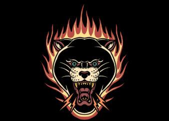 burning panther t-shirt design
