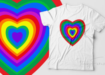 Colorful Hearts rainbow colors t shirt art for sale