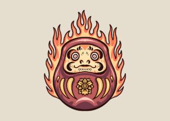 flaming daruma