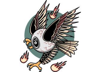 flying eye t-shirt design for sale