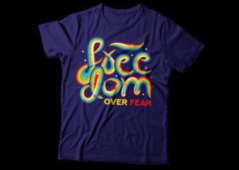 freedom over fear rainbow typography design   NO fear