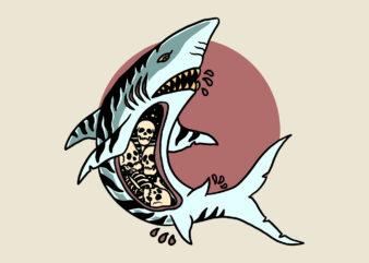 man eater shark t-shirt design