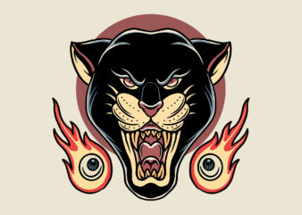 panther and flames