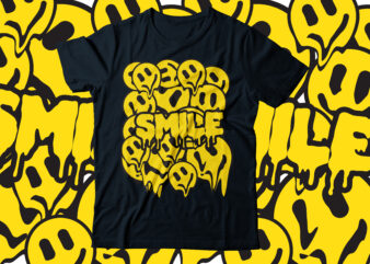 drip smile with smiley faces typography design