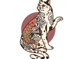 tattooed cat t-shirt design for sale