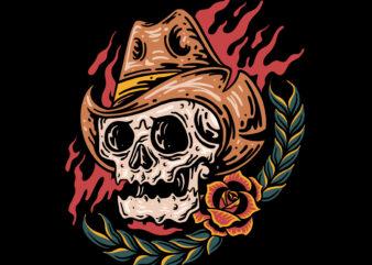 The cowboy skull t-shirt design