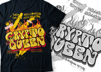 crypto queen with crown streetwear typography design | graffiti streetwear design