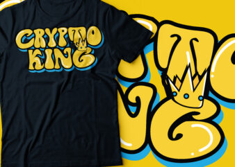 crypto king with crown typography design