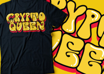 crypto queen with crown typography design