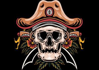 Death pirates illustration t-shirt design