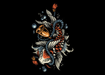 koi fish t-shirt design for sale