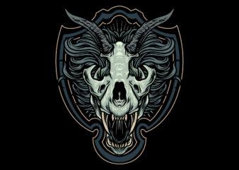 lion skull illustration t-shirt design