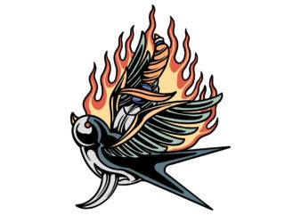 flaming swallow