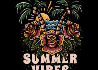 Summer vibes illustration for t-shirt design