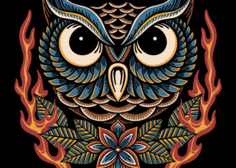 Owl and flame traditional illustration fpr t-shirt design