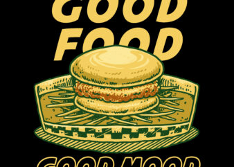 Burger illustration for tshirt design