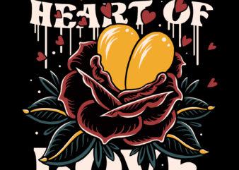 Heart of love traditional illustration design