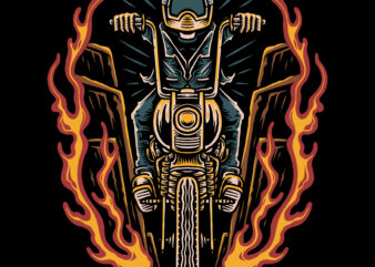 Ride motorcycle traditional illustration for t-shirt design