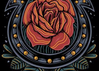 Rose and hoseshoe illustration for t-shirt