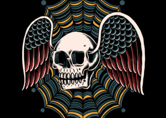 Traditional flying skull for t-shirt design
