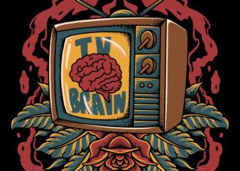 Tv brain traditional illustration for t-shirt design
