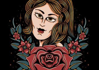 Emotional eye with rose illustration for t-shirt design