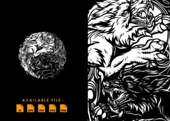 Wolf yin yang T-shirt Design