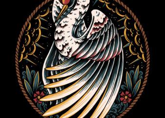 Beautyful swan illustration for t-shirt design