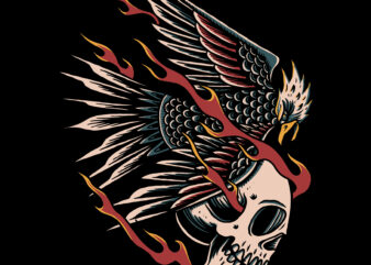 Eagle and skull illustration for t-shirt design