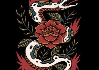 Snake and rose vector illustration for t-shirt