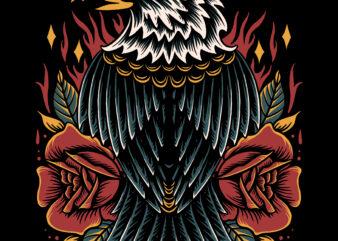 Strong eagle illustration for t-shirt design