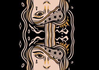 Twin girls illustration for t-shirt design