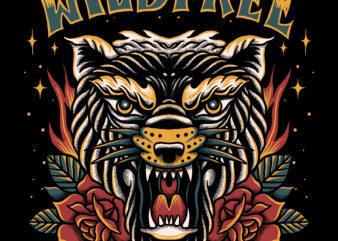 Wild free tiger illustration for t-shirt design