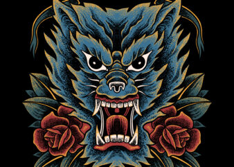 Wolf traditional style for t-shirt design