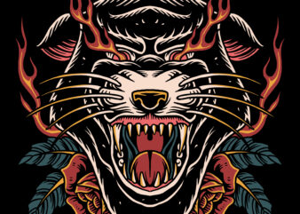 Angry panther traditional illustration for t-shirt