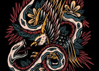 Eagle and snake fight illustration for t-shirt design
