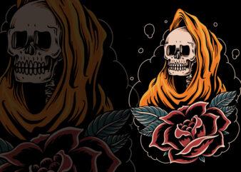 Orange skull traditional illustration for t-shirt
