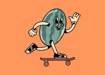skateboarding watermelon cartoon