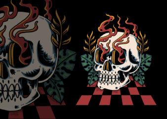 Skull on the dance floor illustration for t-shirt