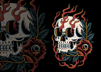 Skull and eye of roses traditional t-shirt design