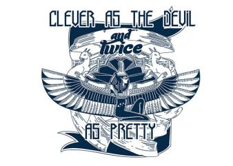 Clever as the devil vector t shirt design for download