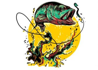 Fly fishing graphic t-shirt design