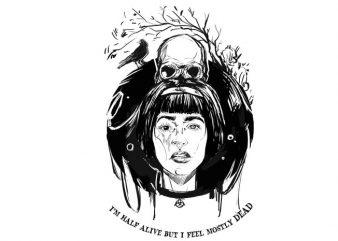 I'm half alive t-shirt design png