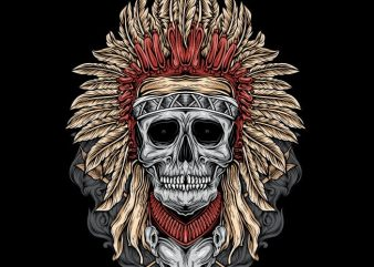 Native Skull vector t shirt design artwork