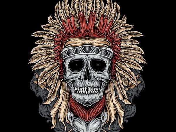 Native Skull T shirt vector artwork
