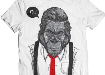 Slick Ape – Gorilla Business tshirt design vector