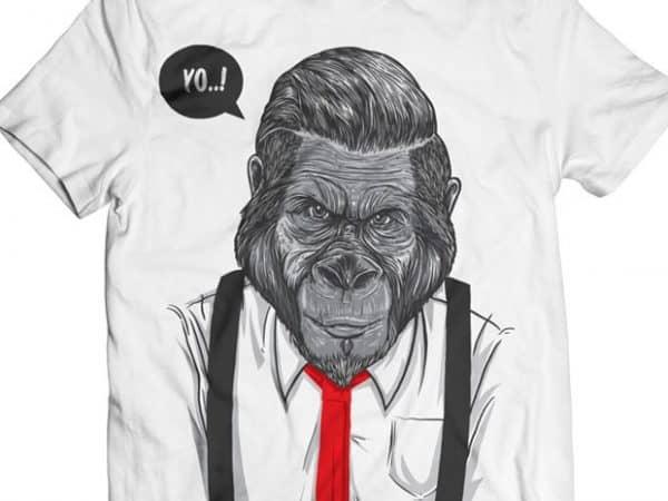 Slick Ape – Gorilla Business tshirt design vector